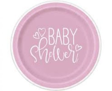 Pink Baby Shower Small Paper Plates (8pcs)