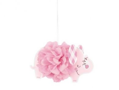 Pink Elephant Hanging Fluffy Decorations (3pcs)