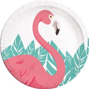 Pink Flamingo Large Paper Plates (8pcs)