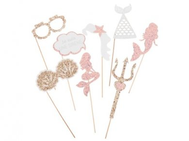Pink Mermaid Glitterati Photobooth Props (8pcs)