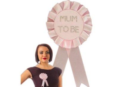 Pink Mum to Be Rosette with Diamante Stones