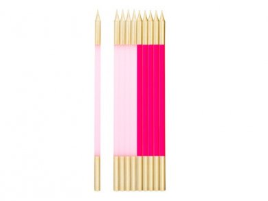Pink and Fuchsia Extra Tall Cake Candles with Gold Finishing (10pcs)