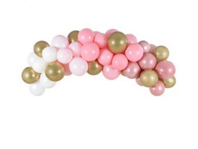Ροζ και Χρυσό Γιρλάντα - Αψίδα με Λάτεξ Μπαλόνια (2μ)
