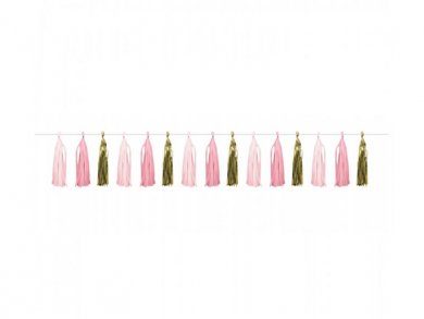 Pink and Gold Tassel Garland (2,43m)