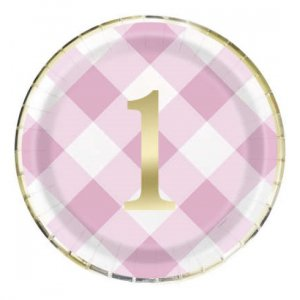 Pink Gingham Large Paper Plates for First Birthday (8pcs)