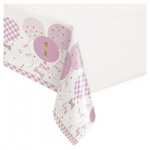 Pink Gingham Plastic Tablecover for First Birthday (137 x 213)