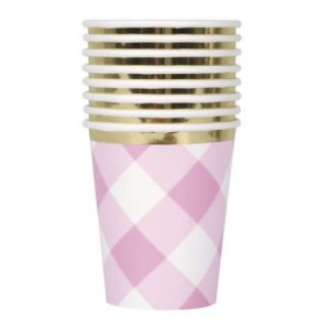 Pink Gingham Paper Cups (8pcs)