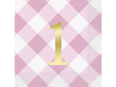 Pink Gingham Luncheon Napkins for First Birthday (16pcs)