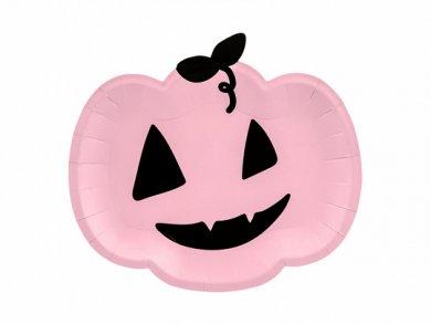 Pink Pumpkin Shaped Paper Plates (6pcs)