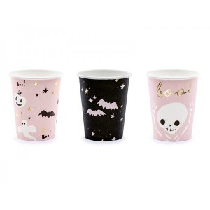 Pink and Black Halloween Paper Cups (6pcs)
