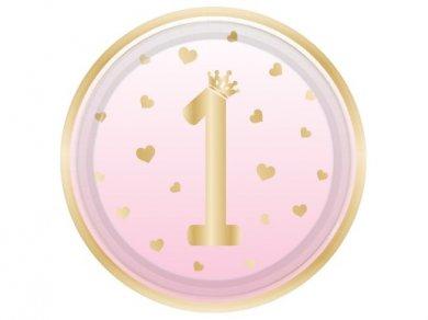 Ροζ Μεγάλα Χάρτινα Πιάτα για τα Πρώτα Γενέθλια με Καρδούλες (8τμχ)