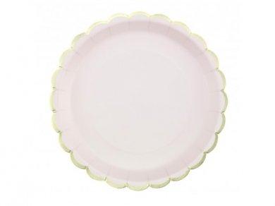 Ροζ Μεγάλα Χάρτινα Πιάτα με Χρυσό Περίγραμμα (8τμχ)