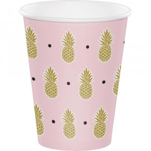 Pink Large Paper Cups with Gold Pineapples (8pcs)