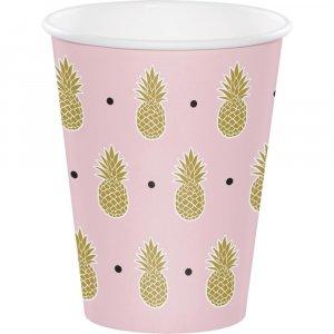 Ροζ Μεγάλα Χάρτινα Ποτήρια Με Χρυσούς Ανανάδες (8Τμχ)