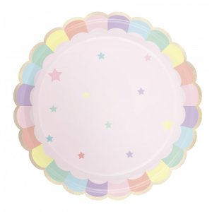 Pink Pattern Paper Plates (8pcs)