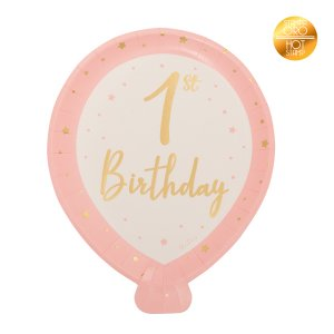 Pink Balloon Shaped Paper Plates for First Birthday with Gold Foiled Print (8pcs)