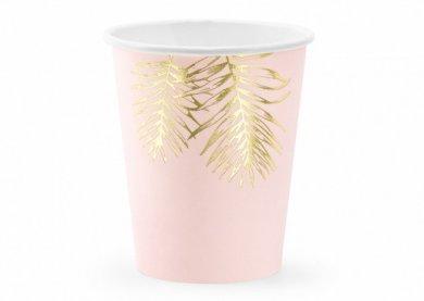 Ροζ Ποτήρια Χάρτινα με Χρυσά Τροπικά Φύλλα (6τμχ)