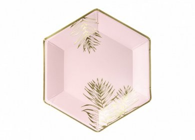 Pink Paper Plates with Gold Tropical Leaves (6pcs)