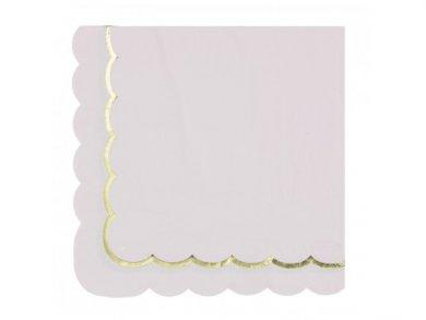 Ροζ Χαρτοπετσέτες με Περίγραμμα Χρυσοτυπίας (16τμχ)