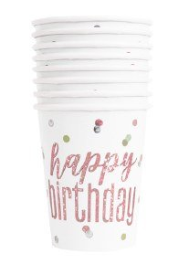Ροζ Χρυσό Με Πουά Ποτήρια Χάρτινα Για Γενέθλια (8τμχ)