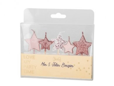 Rose Gold Little Stars Cake Candles (5pcs)