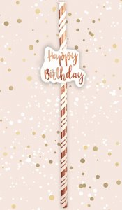 Rose Gold Paper Straws Happy Birhday (6pcs)