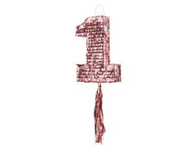 Ροζ Χρυσή Πινιάτα με τον Αριθμό 1 (28,5εκ x 40,5εκ x 8εκ)