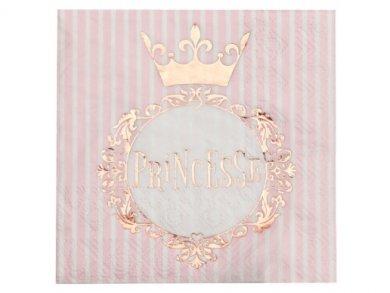 Ροζ Χρυσή Πριγκίπισσα Χαρτοπετσέτες (20τμχ)