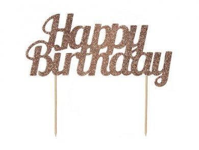 Ροζ Χρυσό Happy Birthday με Γκλίτερ Αξεσουάρ για Τούρτα