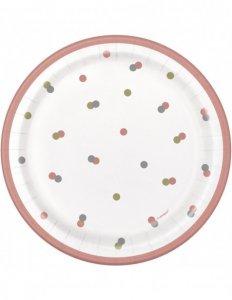Rose Gold Dots Small Paper Plates (8pcs)