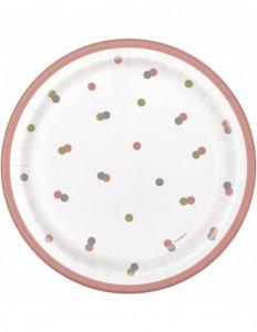Ροζ Χρυσό Με Πουά Μικρά Πιάτα Χάρτινα (8τμχ)