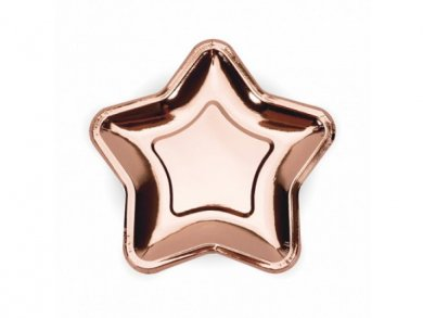 Rose Gold Star Shaped Small Paper Plates 6/pcs