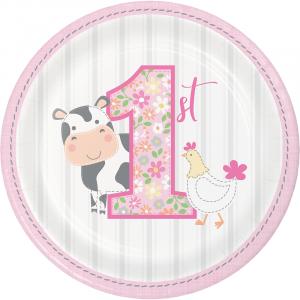Farm Animals Pink Small Paper Plates (8pcs)