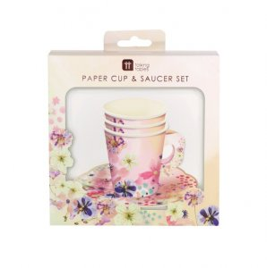 Floral Paper Cups and Saucers (12pcs)