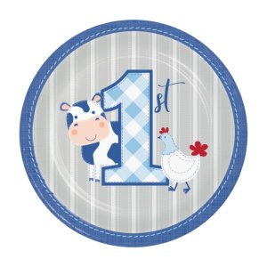 Ζωάκια της Φάρμας Μπλε Μικρά Χάρτινα Πιάτα (8τμχ)