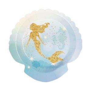 Gold Mermaid Small Shaped Paper Plates (6pcs)