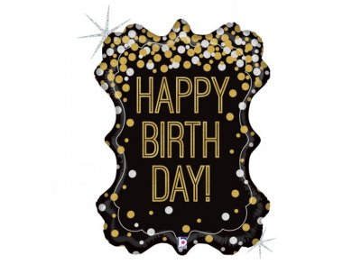 Supershape Frame Balloon with Holographic Glitter Print for Birthday (86cm)
