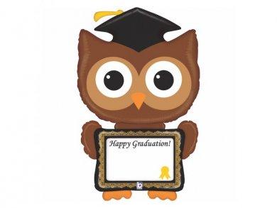 Supershape Owl Balloon for Graduation 117cm