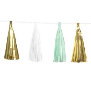 Tassel Garland Mint-Gold and White (3m)