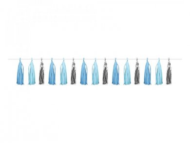 Tassel Garland in Pale Blue and Silver Color (2,43m)