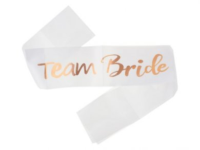 Team Bride White Sash with Rose Gold Letters