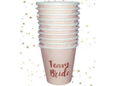 Team Bride Pink Paper Shot Cups with Rose Gold Print (10pcs)