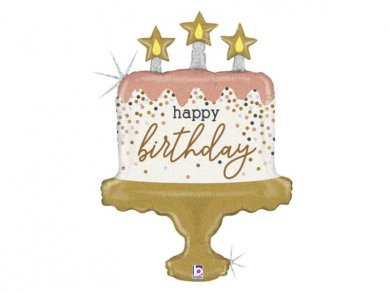 Birthday Cake Confetti Supershape Balloon Gold and Rose Gold (84cm)
