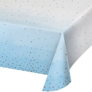 Blue and Silver Celebration Paper Tablecover (137cm x 259cm)