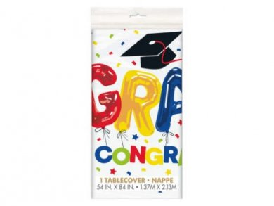 Colorful Grad Congrats Plastic Tablecover 137cm X 213cm