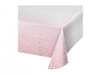 Paper Tablecover Pink and Gold Celebration (137cm X 259cm)