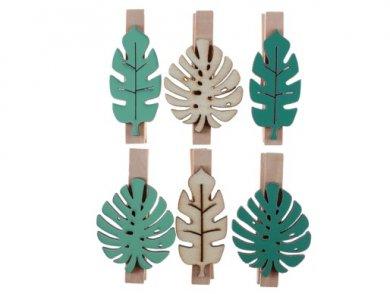 Τροπικά Φύλλα Μίνι Ξύλινα Μανταλάκια (6τμχ)
