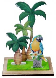 Tropical Parrots Wooden Centerpiece Table Decoration (16,5cm x 23cm)