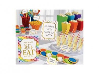 Colorful candy buffet decorating kit
