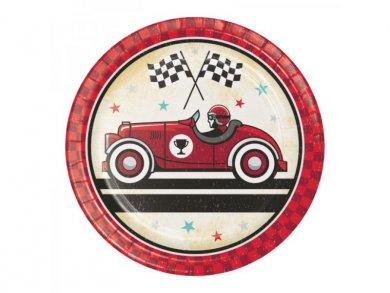 Vintage Αγωνιστικό Αυτοκίνητο Μικρά Χάρτινα Πιάτα (8τμχ)